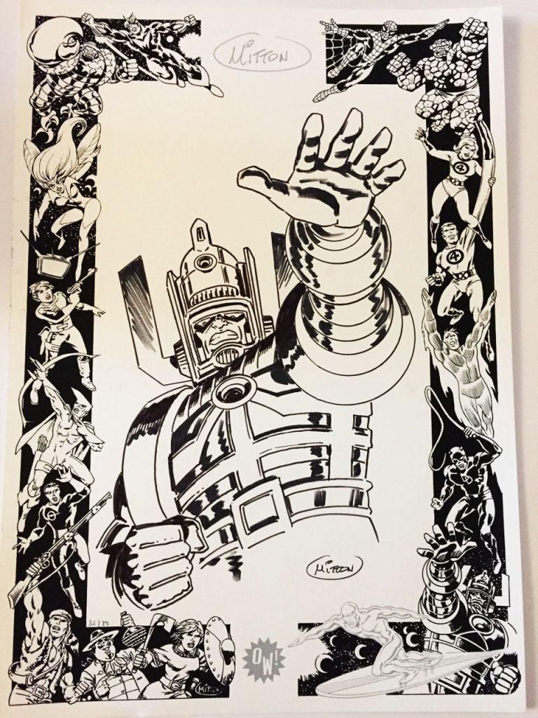 J.Y Mitton, dédicace sur sérigraphie OW! Noir & Argent - format A3.