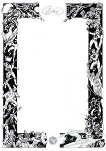 J.Y Mitton, frise à dédicaces OW! Sérigraphie noir & argent - format A3.