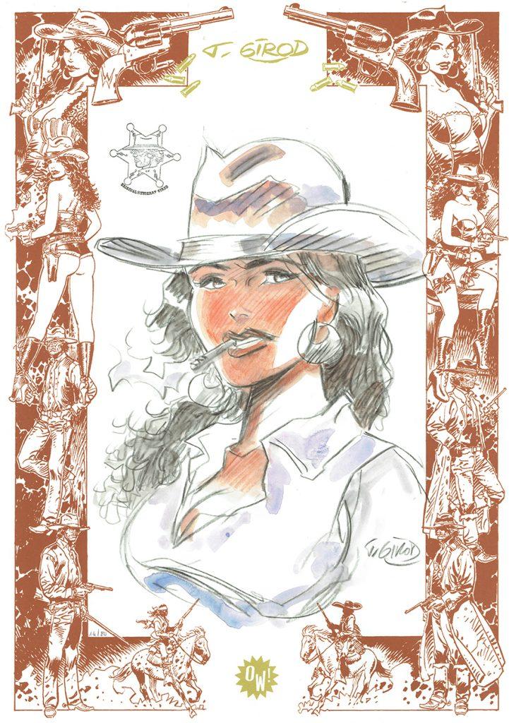 T. Girod, illustration sur frise OW! Sérigraphie marron cuir & or - format A3.
