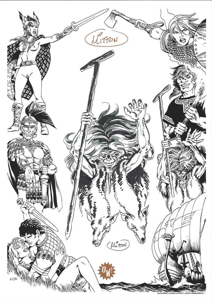 J.Y Mitton, dessin sur sérigraphie OW! Noir & Cuivre - format A3.