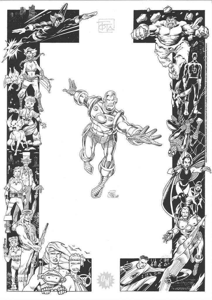 C. Tota, dessin sur sérigraphie OW! Noir & Argent - format A3.