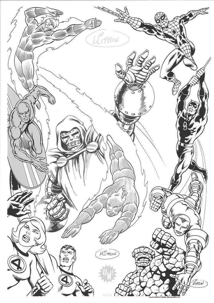 J.Y Mitton, dessin sur sérigraphie OW! Noir & Argent - format A3.