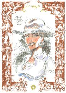 T. Girod, dessin sur sérigraphie OW! Marron cuir & Or - format A3.