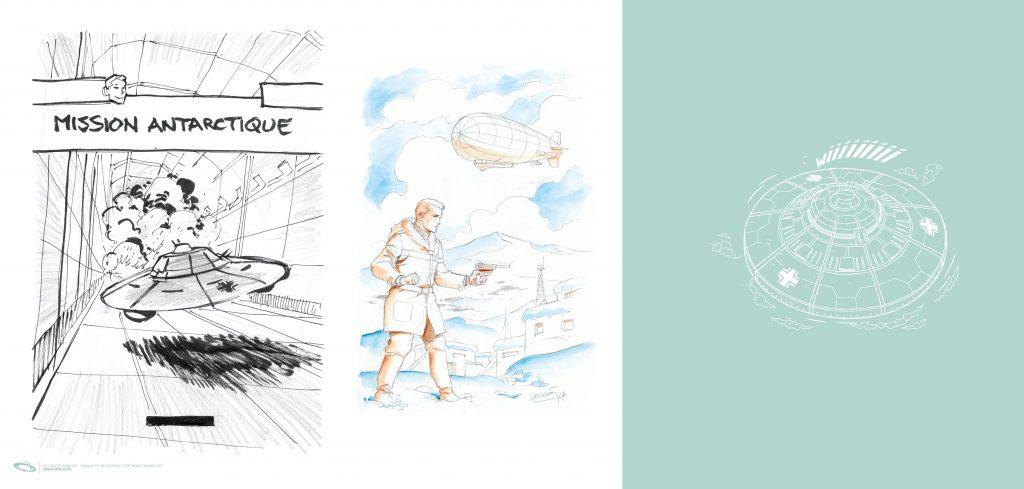 C. Alvès & F. Corteggiani, projet de pages de gardes à volets / Tirage de Luxe OW! - Format panoramique.