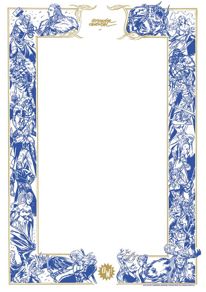 G. Lemercier, dessin sur sérigraphie OW! Bleu & Or - format A3.