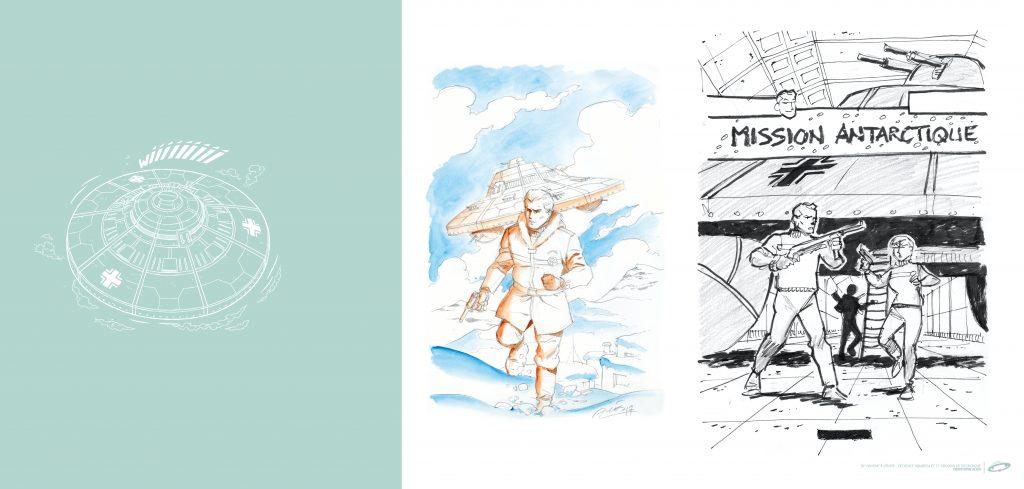 C. Alvès & F. Corteggiani, Mission Antarctique, page de garde à volet / Tirage de Luxe OW! - Format panoramique.